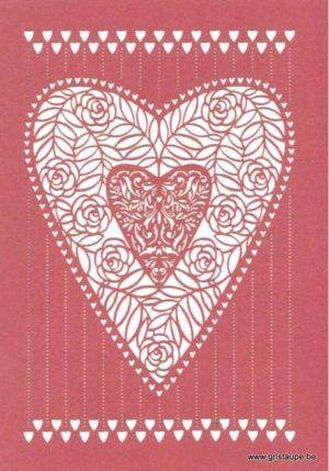 carte postale double découpée au laser formant un coeur éditée aux éditions quire