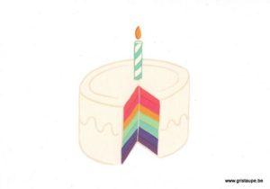 carte postale illustrée et éditée par pramax rainbow cake