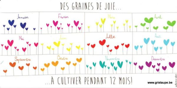 carte postale illustrée par valentine iokem et éditée aux éditions de cortil des graines de joies à cultiver pendant 12mois