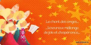 carte postale illustrée par valentine iokem et éditée aux éditions de cortil le chant des anges savoureux mélange de joie et d'espérance