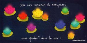 carte postale illustrée par valentine iokem et éditée aux éditions de cortil lumières de nénuhars