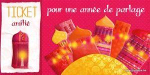 carte postale illustrée par valentine iokeme t éditée aux éditions de cortil ticket amitié pour une année à partager