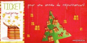 carte postale illustrée par valentine iokem et éditée aux éditions de cortil ticket surprise pour une année réjouissante