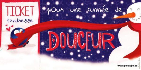carte postale illustrée par valentine iokem et éditée aux éditions de cortil ticket tendresse pour une année de douceur
