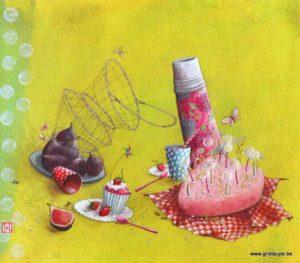 carte postale illustrée par gaelle boissonnad et éditée aux éditions aquarupella le pique nique