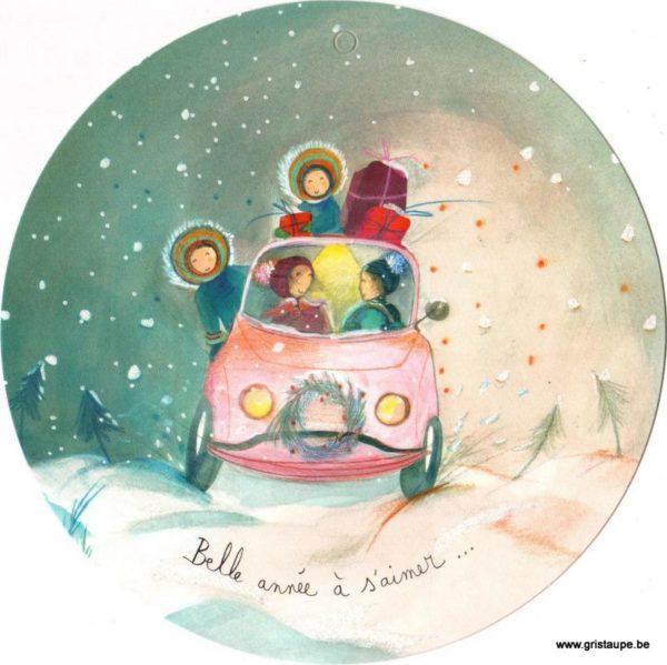carte postale ronde illustrée par anne sophie rutsaert représentant une voiture remplie de cadeaux de noel