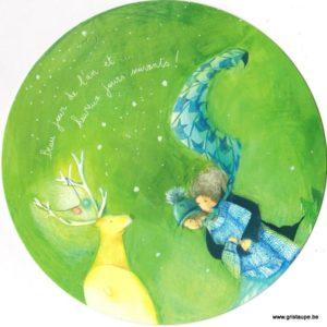 carte postale ronde illustrée par anne sophie rutsaert représentant un renne lumineux