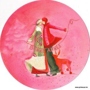 carte postale illustrée par anne sophie rutsaert représentant un couple et un renne