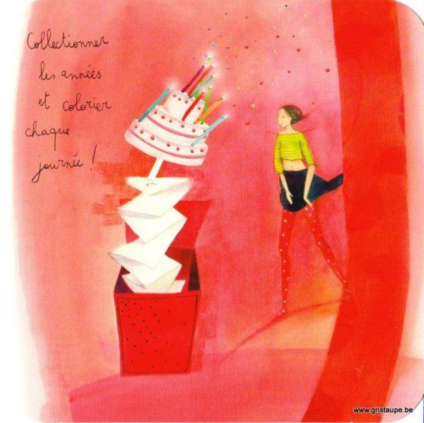 cartes postales illustrée par anne sophie rutsaert et editée aux éditions des correspondances représentant un personnage devant un gateau sortant d'une boite à surprise