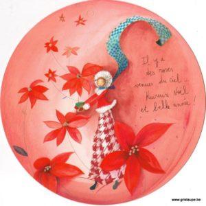 carte postale ronde illustrée par anne sophie rutsaert et représentant un un personnage entouré de roses de noel