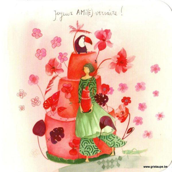 carte postale illustrée par anne sophie rutsaert et éditée aux éditions des correspondances représentant un personnage devant un gâteau