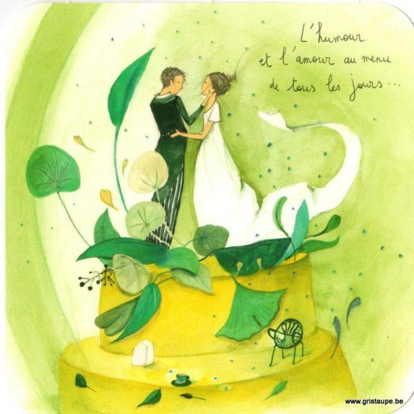 carte postale illustrée par anne sophie rutsaert et éditées aux éditions de correspondances représentant un couple de mariés