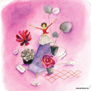 carte postale illustrée par anne sophie rutsaert et éditées aux editions des correspondances représentant un personnage au milieu de fleurs
