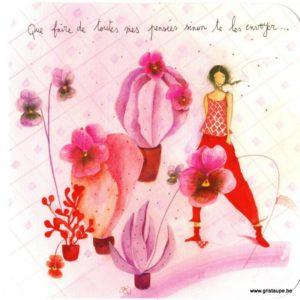 carte postale illustrée par anne sophi rutsaert et éditée aux éditions des correspondances représentant un personnage au milieu de fleurs