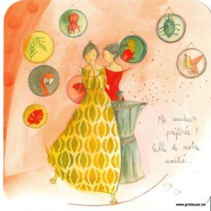 carte postale illustrée par anne sophie rutsaert et éditée aux éditions des correspondances représentant deux amies autour d'une cafetière italienne