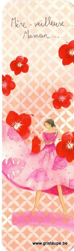 marque page illustré par anne sophie rutsaert et représentant une maman entourée de fleurs