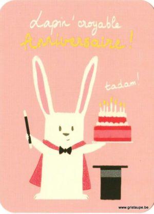 carte postale illustrée par camille chaussy et editées aux éditions correspondances représentant un lapin magicien