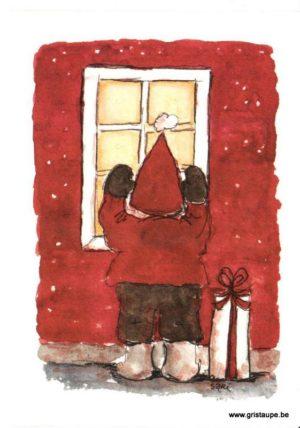 carte postale illustrée par Sari et représentant un lutin curieux