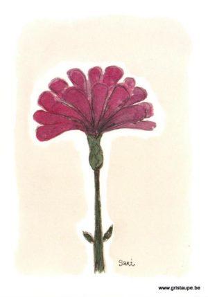 carte postale illustrée par sari et représentant une fleur mauve