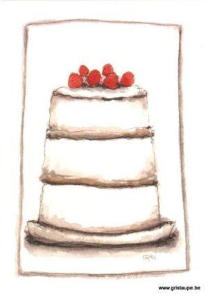 carte postale illustrée par Sari représentant un gâteau