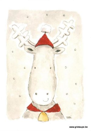 carte postale illustrée par Sari représentant un renne
