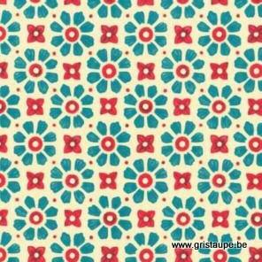 papier italien carta varese petites fleurs aux pétales turquoise sur fond clair