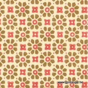 papier italien carta varese petites fleurs aux pétales olive sur fond clair