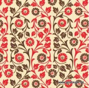 papier italien carta varese fleurs roses entrelacées de feuillage vert
