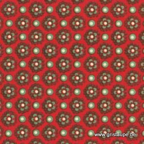 papier italien carta varese petites fleurs sur fond rouge