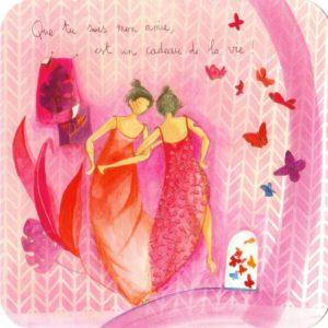 carte postale illustrée par anne sophie rutsaert et éditée aux éditions des correspondances deux personnages dansant autour des papillons