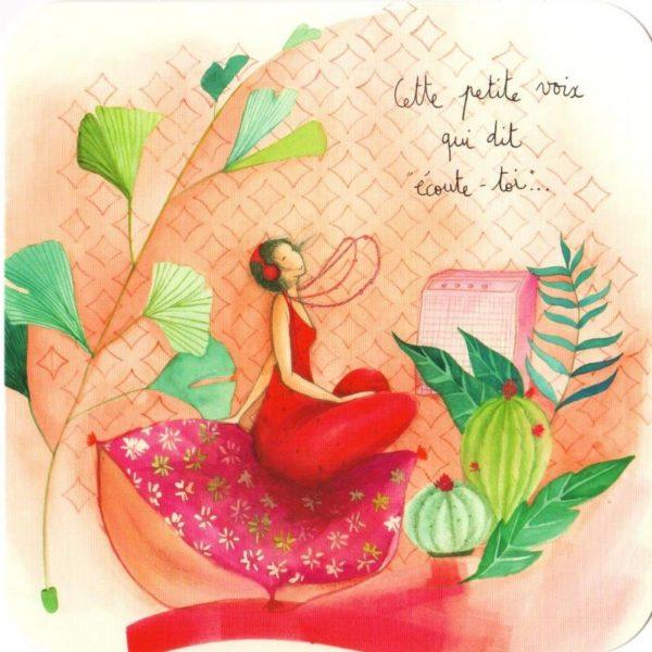 carte postale illustrée par anne sophie rutsaert et éditée aux éditions des correspondances personnage écoutant de la musique