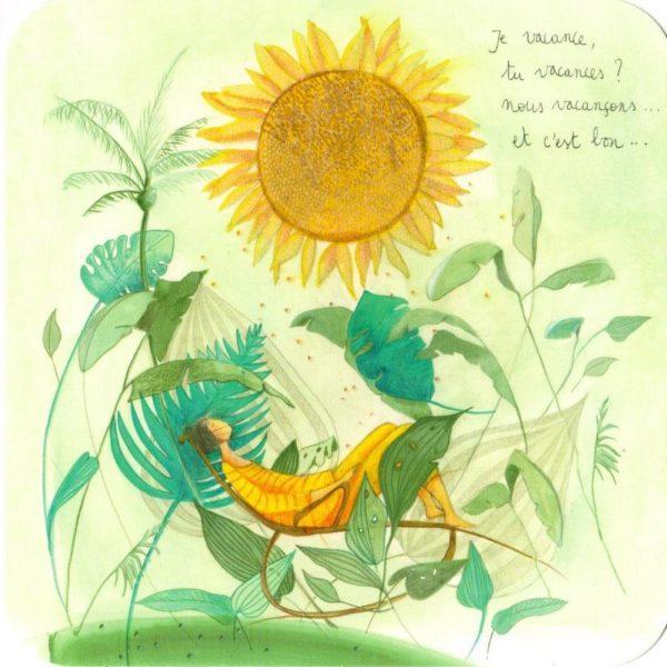 carte postale illustrée par anne sophie rutsaert et éditée aux éditions des correspondance personnage dans un hamac
