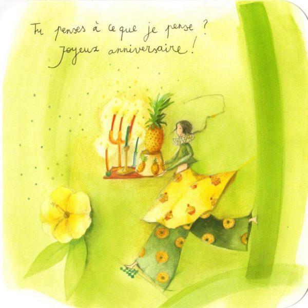 carte postale illustrée par anne sophie rutsaert et éditée aux éditions des correspondances personnage tenant un gâteau aux ananas