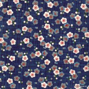 papier japonais ou washi chiyogami sérigraphié fleur sur fond bleu