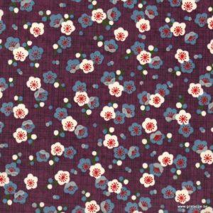 papier japonais ou washi chiyogami sérigraphié fleur sur fond violet