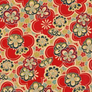 papier japonais ou washi chiyogami sérigraphié fleurs rouges et beige