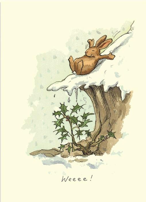 Carte de voeux avec texte en anglais représentant un lapin sur une pente enneigée dont la course va se terminer sur une branche de gui