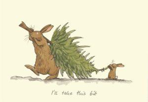 Carte de voeux avec texte en anglais représentant un grand lapin portant un sapin pour Noël aidé par un petit lapin