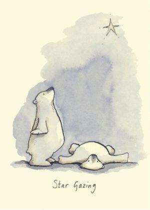 Carte de voeux avec texte en anglais représentant deux ours blancs regardant une étoile scintillante