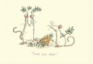Carte de voeux avec texte en anglais représentant deux souris blanches jouant avec des branches de sapin et une pomme de pin