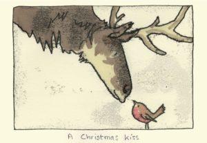 Carte de voeux avec texte en anglais représentant un renne et un rouge-gorge se donnant un bisou