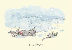 Carte de voeux avec texte en anglais représentant un lapin et une souris qui font des anges dans la neige