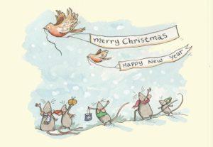 Carte de voeux avec texte en anglais représentant 5 souris faisant signe et regardant des rouges-gorges portant une banderole de voeux