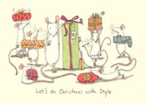 Carte de voeux avec texte en anglais représentant 8 souris blanches portant chacune un cadeau