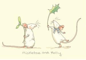 Carte de voeux avec texte en anglais représentant deux souris blanches portant chacune une branche de gui et de houx