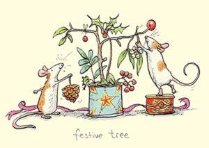 Carte de voeux représentant 2 souris décorant une branche de gui pour Noël