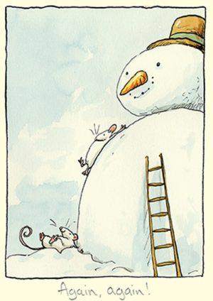 Carte de voeux avec texte en anglais représentant 2 souris blanches faisant des glissades sur le ventre d'un bonhomme de neige