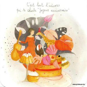 Carte d'anniversaire d'Anne-Sophie Rutsaert avec une jeune fille à la guitare et des animaux exotiques