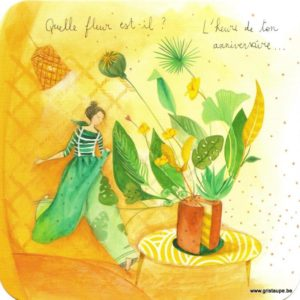 Carte d'anniversaire d'Anne-Sophie Rutsaert représentant une dame, un gâteau et des fleurs