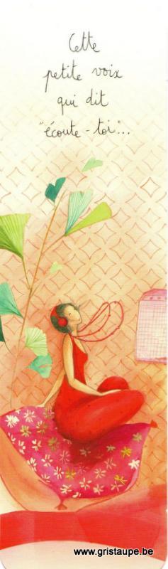 Marque-page d'Anne-Sophie Rutsaert représentant une dame sur un coussin avec des écouteurs